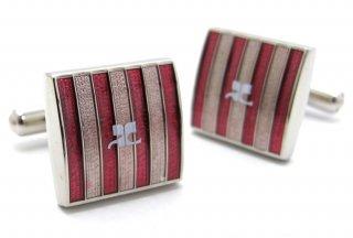 courreges(クレージュ) ストライプスクウェアカフス(ピンク)(カフスボタン/カフリンクス) - ブランド