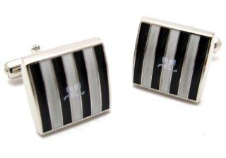 courreges(クレージュ) ストライプスクウェアカフス(ブラック&ホワイト)(カフスボタン/カフリンクス) - ブランド
