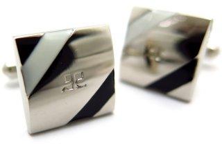 courreges(クレージュ) オブリークラインカフス(ブラック&ホワイト)(カフスボタン/カフリンクス) - ブランド