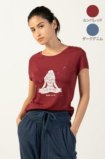W CALM DOWN TEE レディース半袖瞑想グラフィックTシャツ【スポーツウェア ヨガウェア】