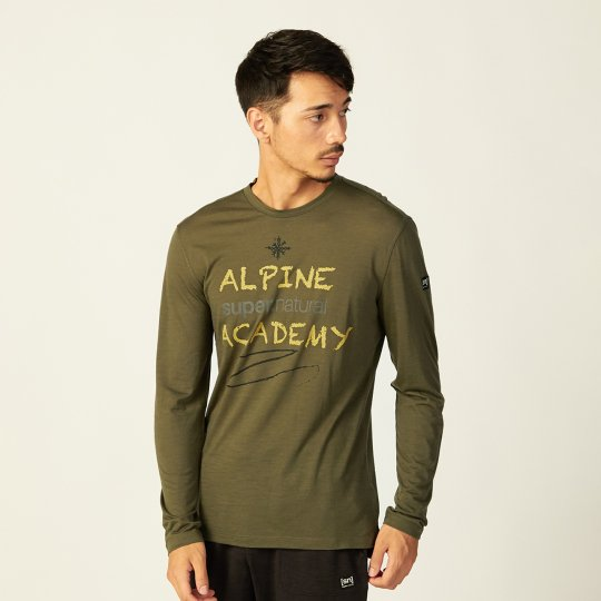 M ALPINE ACADEMY LS(ライトウェイト140g)メンズ長袖アルパインアカデミーTシャツ【スポーツウェア ヨガ・アウトドアウェア】