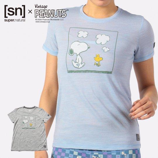 W Vintage PEANUTS TEE レディース 半袖 スヌーピー ウッドストック Tシャツ【スポーツウェア ヨガウェア】