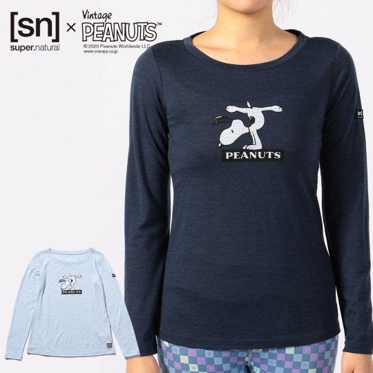 W Vintage PEANUTS TEE レディース 長袖 スヌーピー ハンドスタンド クルーネック Tシャツ【スポーツウェア ヨガウェア】