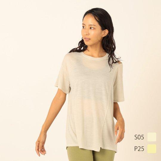 YOGA Shoulder Slit Relax Tee ショルダースリット リラックスTシャツ 半袖【スポーツウェア ヨガウェア】