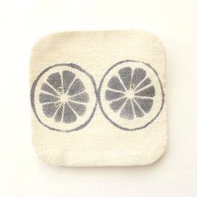 泥染 コースター / lemon