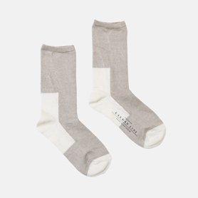 GEMINI 配色の靴下 リネン / ロウ×ホワイト