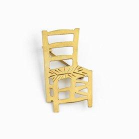 インドのブローチ 椅子 真鍮