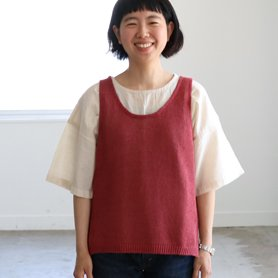 linen vest / アカ[50%OFF]