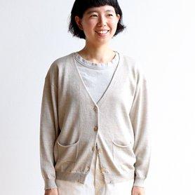 linen wool cardigan ベージュ[40%OFF]