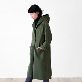 cotton wool chino coat カーキ[20%OFF]