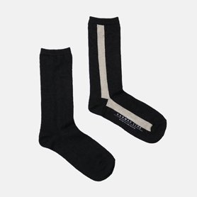 GEMINI Iライン配色の靴下 リネン / ブラック×ロウ