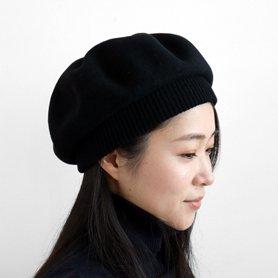 MKF-24011 beret top gather rib lamb / ブラック