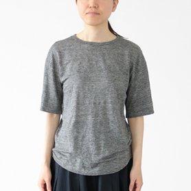 リネン100Tシャツ チャコールグレー
