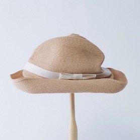 BOXED HAT 401PT / ラフィア×生成りリボン