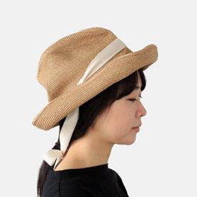 BOXED HAT 101GA / ミックスブラウン×生成りリボン