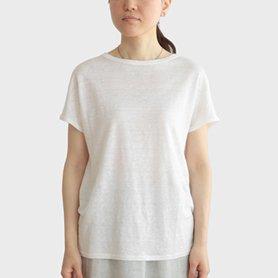 リネン100Tシャツフレンチスリーブ / ホワイト