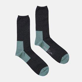 メンズ GEMINI 配色の靴下 コットン / チャコール×シダーグリーン