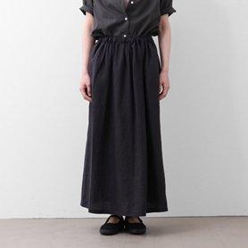 リネンギャザーロングスカート / ブラック