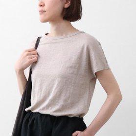 リネン100Tシャツフレンチスリーブ / ベージュ