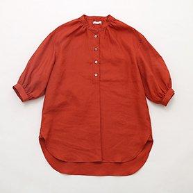 ハードマンズリネン スタンドカラーシャツ ロング / レッド
