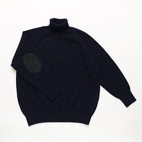 エルボーパッチセーター タートル / ネイビー