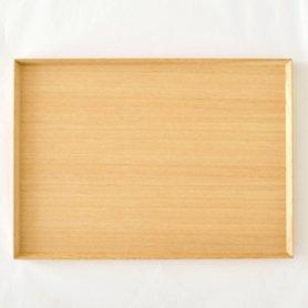 白木塗トレイ タモ1尺4寸 長角