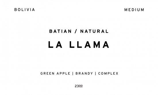 LA LLAMA BATIAN NATURAL     BOLIVIA  /200g