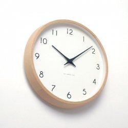 掛け時計 電波時計 北欧 木製 おしゃれ レムノス カンパーニュ Campagne PC10-24W NT/BW