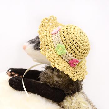 麦わら帽子 ちっちゃなお花 ベージュ
