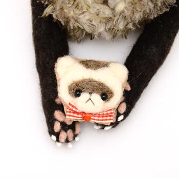 【セーブル】羊毛フェレット キーホルダー・ブローチ