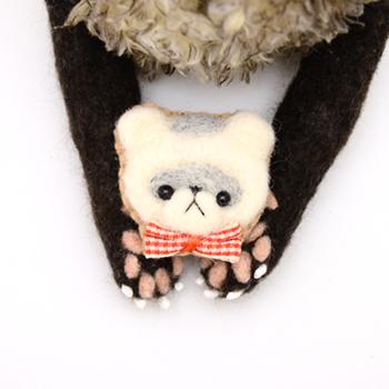 【シルバーミット】羊毛フェレット キーホルダー・ブローチ