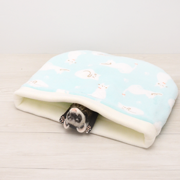 【ブルー】フリース キャット寝袋 ワイド
