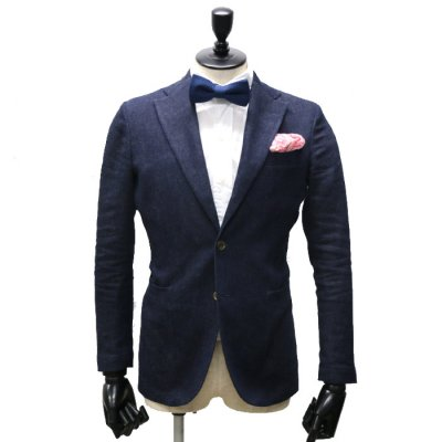 デニムスーツ<br>【KARINE】(NAVY)スーツ<br>リネンデニム×ショートパンツ(ロングにも変更可) 6.5oz マニカ・カミーチャ仕立て