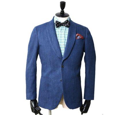 ショールカラー <br>【SOUSOU】(BLUE)スーツ<br>バイオストーンデニム