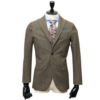 デニムスーツ<br>【GRACE】(BROWN/ブラウン/茶)スーツ<br>ヘリンボンデニム