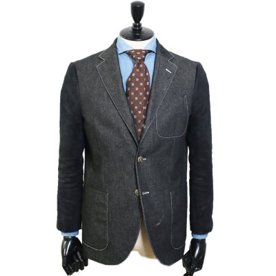 デニムスーツ<br>【Grab】(BLACK・ブラック/黒)異素材コンビデニム スーツ<br>8oz