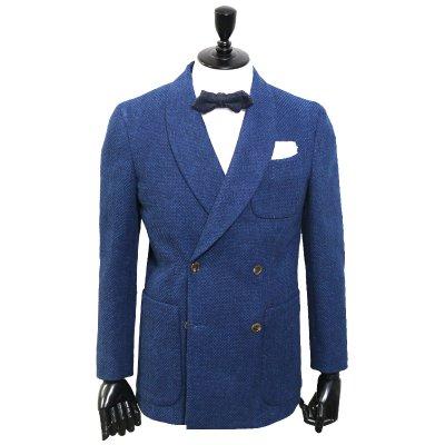 日本伝統 刺し子デニムスーツ<br>【SASHIKO】(BLUE)ダブルブレストスーツ ショール<br>