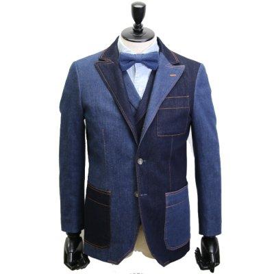 デニムスーツ<br>【AMIRA CRAZY】(NAVY×BLUE)スーツ<br>11oz 本藍デニム×セルヴィッチストレッチデニム使用 クレイジーパターン