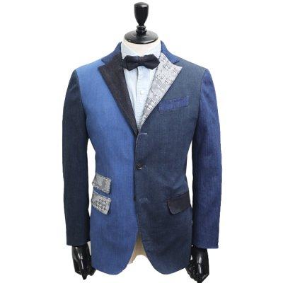 デニムスーツ<br>【SUPER CRAZY】(NAVY×BLUE)コンビデニムスーツ<br>7〜10oz 本藍デニム×セルヴィッチストレッチデニム使用 クレイジーパターン