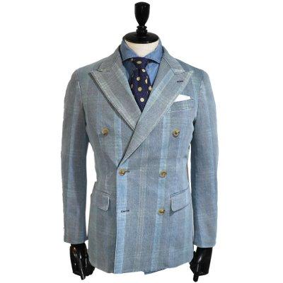 デニムスーツ<br>【CHECK】(バイオストーンウォッシュ)スーツ<br>11oz セルヴィッチストレッチデニム使用