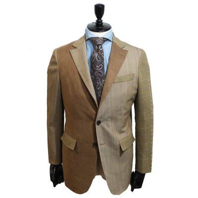 デニムスーツ<br>【SUPER CRAZY】(BROWN)コンビデニムスーツ<br>ギザ綿デニム×ポリスウェード×ウール<br>※ジャケットのみも可 クレイジーパターン