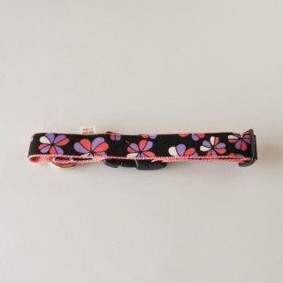 オリジナル首輪 花柄 黒×ピンク