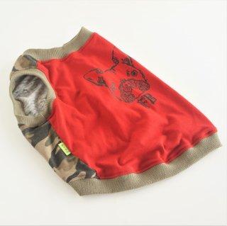 【ぴったりサイズ】タンクトップ/JUNBULL/迷彩柄+レッド/伝七プリント