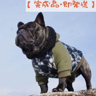 【完成品・即発送】薔薇のフリースパーカ/黒×カーキ