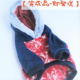 【完成品・即発送】薔薇のフリースパーカ/ボアブルー/ネイビー×赤