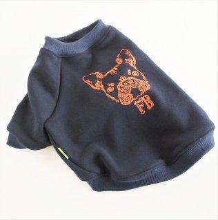 【ぴったりサイズ】丸首トレーナー/ネイビー×オレンジ/伝七プリント