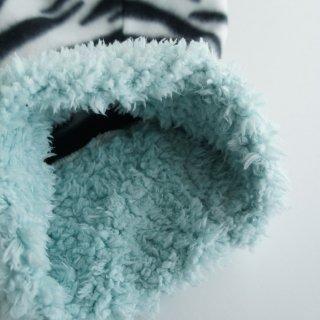 【ぴったりサイズ】ボアハイネックのシマブヒ/水色/フリース