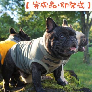 【完成品・即発送】タンクトップ/JUNBULL/迷彩柄+カーキ/伝七プリント オレンジ色