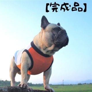 【完成品・即発送】クールタンク/シンプル/白×オレンジ/ちびラーナくん