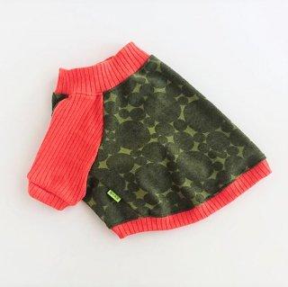 【ぴったりサイズ】ラグランTシャツ/ドット/グリーン×オレンジ/レトロな気分のラグラン